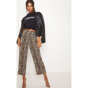 Leopard cheetah print crop culotte high ankle pant